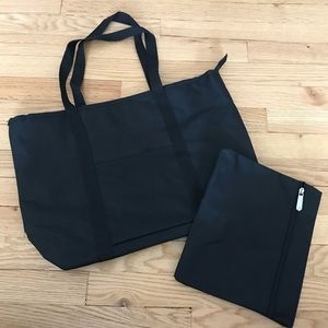 Handbags - Black canvas tote bag and small bag